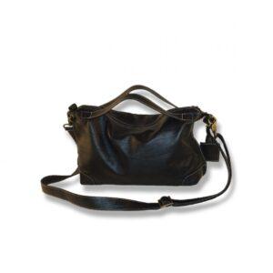 תיק צד קטן מעור קרוקו שחור - מעוצב כמזוודה וינטג'